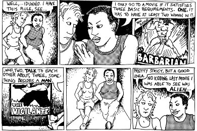 "The original occurrence of the Bechdel Test in ""Dykes to Watch Out For"""