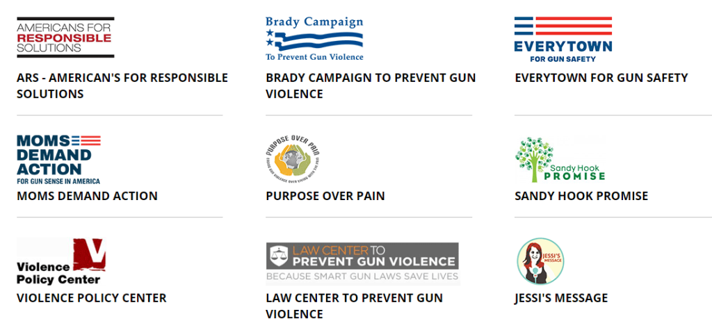 A small selection of U.S. nonprofits that deal with gun violence