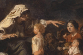 'Spannende Geschichte' artwork on a female storyteller from the 19th century